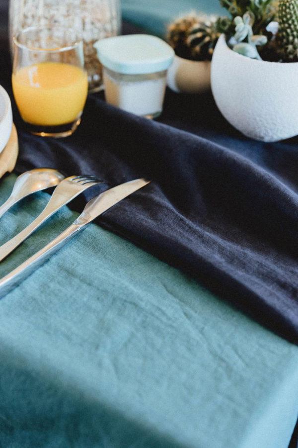 Nappe en lin lavé bleu navy et bleu canard