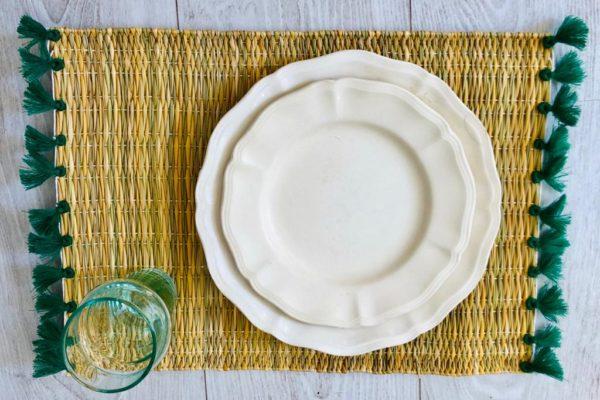 set de table à pompons