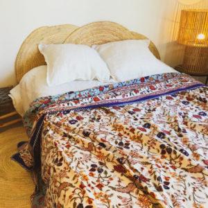 jeté de lit bleu nuit et turquoise